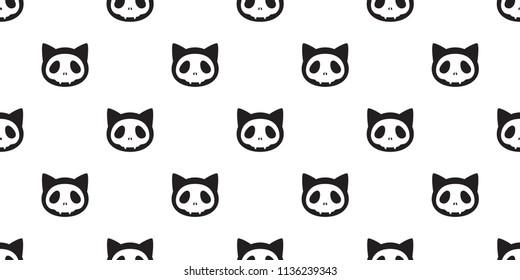 Cat seamless Halloween vector Skull pattern skeleton bone Ghost scarf isolated tile background repeat wallpaper