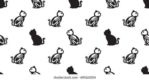 Cat seamless Halloween vector Skull pattern cat bone Ghost wallpaper background