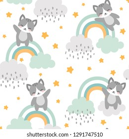 Cat Seamless Pattern Background, Happy cute kitty flying in the sky between clouds and star, Cartoon Kitten Vector illustration for kids forest background with rain dots
