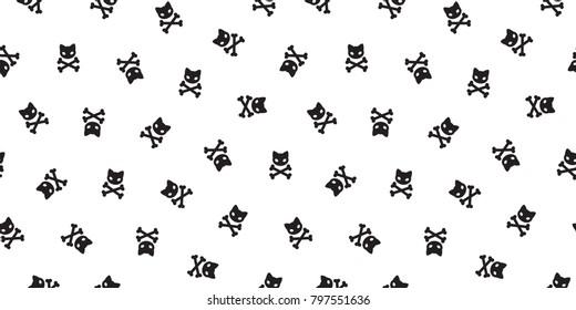 cat seamless pattern cross bone vector kitten Halloween pirate isolated wallpaper background