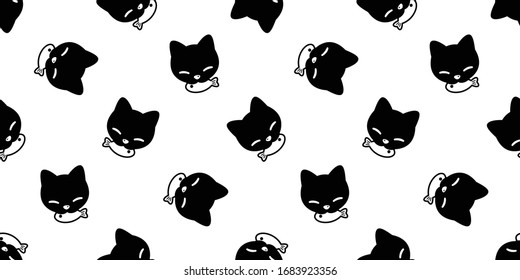 cat seamless pattern kitten eating fish vector calico pet animal scarf isolated repeat background cartoon tile wallpaper doodle illustration black design