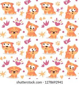 Cat seamless pattern kitten happy kid baby card postcard