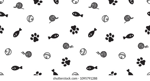 cat seamless pattern kitten paw cat toy vector scarf isolated repeat background wallpaper cartoon