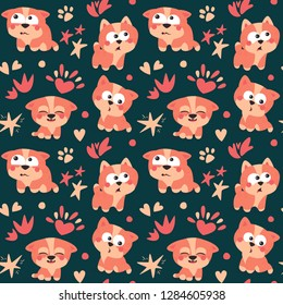 Cat seamless pattern with kitten, paw, heart, element, stars, dark, cute, poses, pet postcard, card