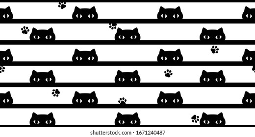 cat seamless pattern kitten paw footprint vector calico pet stripes scarf isolated repeat background cartoon tile wallpaper doodle illustration design