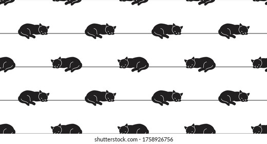 cat seamless pattern kitten vector sleeping calico animal pet scarf isolated repeat wallpaper cartoon tile background doodle illustration line black design