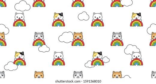 cat seamless pattern rainbow vector kitten cloud scarf isolated repeat background tile wallpaper cartoon illustration doodle design