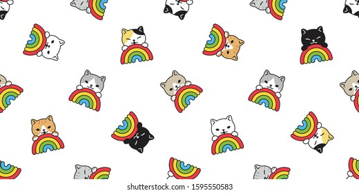 cat seamless pattern rainbow vector kitten scarf isolated repeat background tile wallpaper cartoon illustration doodle design
