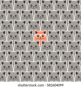 Cat seamless pattern. Vector background. Can be used for wallpaper, cover fills, web page background, surface textures, fabric