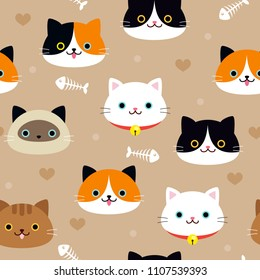 Cat Seamless Pattern Vector illustration. Variety of cats breeds and fishbones on brown background.