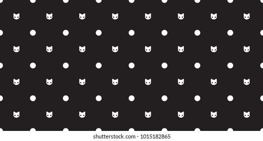 cat Seamless Pattern vector kitten head isolated polka dot wallpaper background black