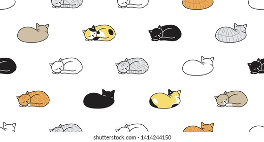 cat seamless pattern vector kitten calico sleeping scarf isolated cartoon tile wallpaper repeat background illustration design