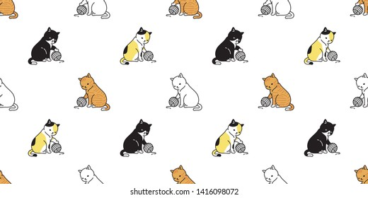 cat seamless pattern vector kitten calico ginger yarn ball scarf isolated cartoon tile wallpaper repeat background illustration design