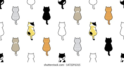 cat seamless pattern vector kitten calico breed scarf isolated cartoon tile wallpaper repeat background illustration doodle design