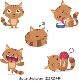 Cat Set, with five different cats in different situations like: standing, drinking milk, sleeping, laughing and playing with wool vector illustration set.