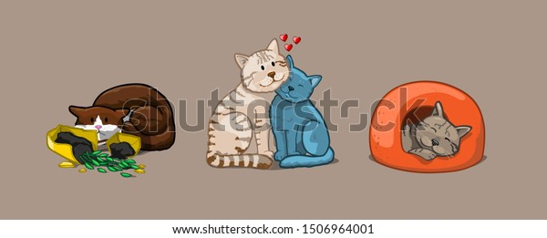 Cat set icons. Vector Illustration Cartoon
