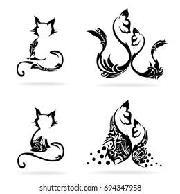 Cat set, on white background, illustration, tribal