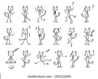 Cat set. Vector outline stick men cats. Funny and cute figures of cats in different positions and in a movement, expressing different moods and emotions.