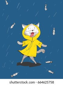 The cat is shocked to see the rain falling with fish falling from the sky.The cat is happy to see the fish.Doodle art concept,illustration painting
