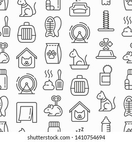 Cat shop seamless pattern with thin line icons: bags for transportation, hygiene, collars, doors, toys, feeders, scratchers, litter, snack, training. Modern vector illustration.