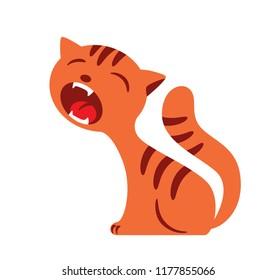 cat shouting, yelling. cartoon vector illustration