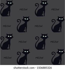 Cat silhouette, art, vector illustration