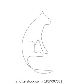 Cat silhouette line drawing, vector illustration