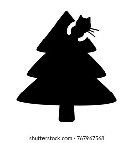 Cat Silhouette On Christmas Tree Glyph Stock Vector Royalty Free 767967568
