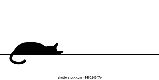 Cat silhouette Cat puss Pussy Kitty line drawn pattern Vector Fun funny icon icons sing signs I love cats Meow Mowing sleep sleeps sleeping cat Happy kitten day Little young babby kittens Portrait