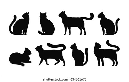 Cat silhouette, set icons. Pets, kitty, feline, animals symbol. Vector illustration