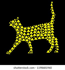 Cat silhouette with triangle embed in yellow and black colors vector illustration.