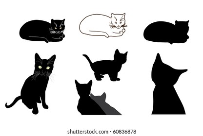 cat silhouettes, element for your design