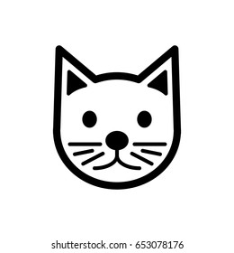 Cat simple vector icon. Black and white illustration of cat. Outline linear cat head icon.