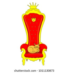 cat sit on the throne. royal cat.