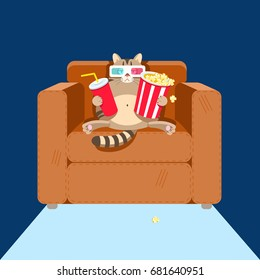 The cat sits on a chair with popcorn and sweet water watching a movie. Modern flat style vector illustration clipart.