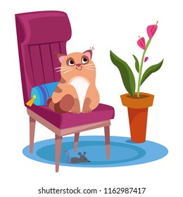 The cat sits on a chair, and under the chair is a mouse. Interior of the house in a cartoon childlike style. Vector illustration. White background. Isolated object.