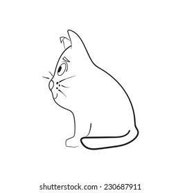 Cat sitting in profile. Vector.