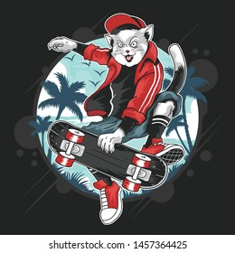 CAT SKATEBOARD POP PUNK POP ARTWORK WITH HAT AND JACKET VECTOR EPS FOR TSHIRT AND ELEMENT