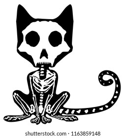 Cat skeleton animal figure, Halloween vector illustration, horizontal, inside black silhouette, isolated