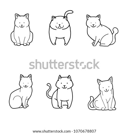 cat sketches on white background cartoon stock vector royalty free