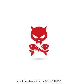 Cat skull and crossbones cross fish bones, red sign - vector illustration