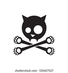 Cat skull and crossbones cross paws - vector illustration