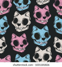 Cat skull seamless pattern. Scary background in modern line art style