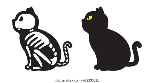 Cat Skull vector bone skeleton icon logo Halloween illustration doodle