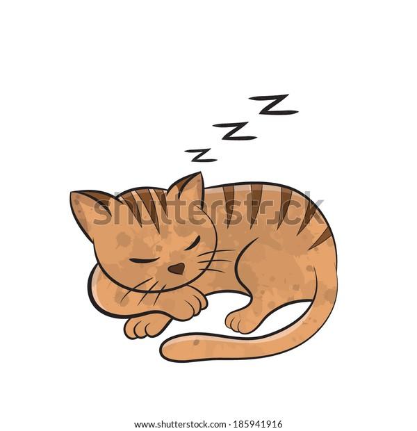 Cat sleep cartoon - vector
