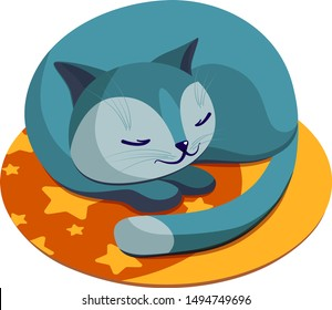 cat sleeps on a rug, cat glomerulus, sleeping cat, cartoon character vector, illustration, on a white background, illustration, kids, cute,