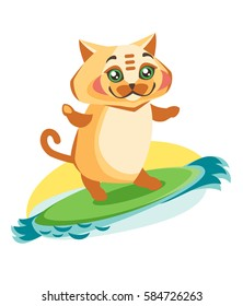 Cat is sliding on a surfboard. Illustration active recreation