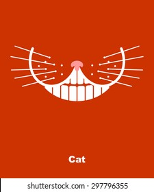 Cat smile on a red background. Vector illustration. teeth and whiskers.