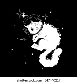 Cat in space #1, white on black