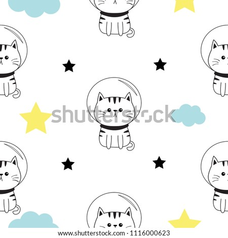 Cat Spaceman Head Hands Cloud Star Stock Vector Royalty Free